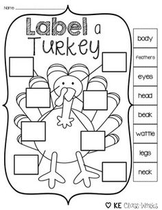 This is a great activities to help your emerging readers pay attention to the beginning letter in the word! This also helps kids learn to label properly. Perfect to use around Thanksgiving! Hope you enjoy! Turkey Kindergarten, Kindergarten Writing, Kindergarten Classroom, Preschool Classroom Labels, Literacy, Classroom Ideas, Thanksgiving Preschool, Fall Preschool, Preschool Activities