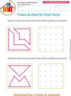 Ejercicio10: Actividadesescolares de trazos de simetría.Copia lostrazos lineales y las formasde manerasimétrica guiándote por los puntos.