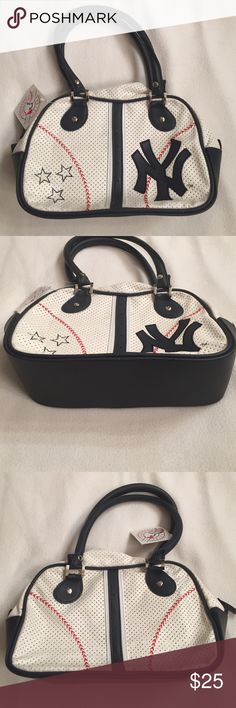 NY Yankee handbag 👜 NWT NY 🗽 Yankees ⚾️handbag NEW!!!  Blue, Red & white pinstripe handbag with a roomy inside compartment with a side zipper.  Questions please ask, great for game day for the sports lover. Bags Totes