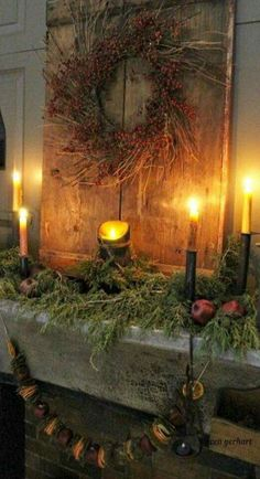 Stunning Primitive Christmas Decorations Ideas – Christmas Celebration – All about Christmas We are want to say thanks if you like to share this post … Primitive Christmas Decorating, Prim Christmas, Christmas Mantels, All Things Christmas, Winter Christmas, Christmas Crafts, Christmas Trees, Natural Christmas, Father Christmas
