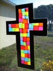 Easter stained glass window cross arts and crafts for kids and kindergarten