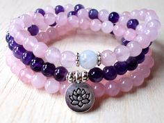 Zen Necklace Lotus Mala Beads 108 Mala Necklace Buddhist Beads Rose Quartz Mala Jewelry Amethyst Yoga Bracelet - Moonstone, Calming Necklace
