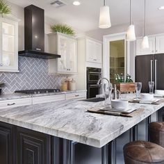 Arizona Tile carries Fantasy Brown Satin in natural stone marble slabs and is one of the harder marbles and is well suited for kitchen countertops. White Cabinets White Countertops, Brown Granite Countertops, Kitchen Countertops, Kitchen Cabinets, Laminate Countertops, Granite Kitchen, Kitchen Islands, Kitchen Backsplash, Home Decor Kitchen