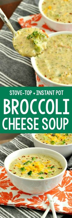 Creamy Broccoli and Cheese Soup that's quick, easy, and entirely from scratch! no velveeta -- no cream-of-anything -- stove-top and instant pot instructions