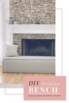 A DIY on how to make your own bench cover for your fireplace! Functional, safe, and stylish! Stone or Brick fireplace hearth cover. Fireplace Cover Up, Baby Proof Fireplace, Brick Fireplace, Fireplace Remodel, Fireplace Ideas, Fireplace Hearth Decor, Fireplace Seating, Fireplace Update, Childproof Fireplace