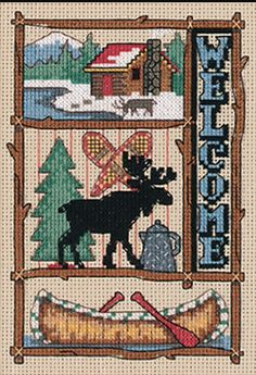 Moose and cabin counted cross stitch by Jiffy