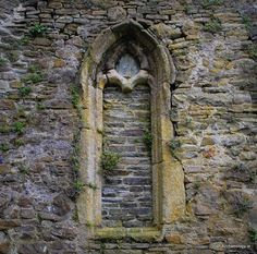 A blocked-up medieval window at St Laserian's cathedral, Old Leighlin, Co. Carlow