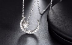 Sterling Silver Moon Star Pendant Necklaces with Austrian Crystal for Women
