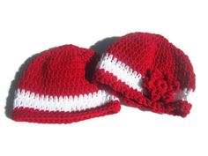 Red and White Baby Hats for Twins Christmas by crochetedbycharlene #twins #valentinesday #babyhat
