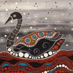 Amazing Australian Aboriginal Artwork by Melanie Hava / Black Swan is the title of the painting. Tap to view now! Aboriginal Art Animals, Aboriginal Art Symbols, Aboriginal Dreamtime, Aboriginal Dot Painting, Aboriginal Culture, Dot Art Painting, Encaustic Painting, Indigenous Australian Art, Indigenous Art