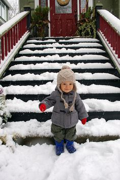 Snow. Cute Asian baby!