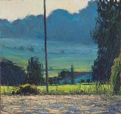 Andrew Gifford - Evening Mist with Telegraph Pole, Vigereau -  Oil on panel 8 x 7¾ ins (20.46 x 19.47 cms)