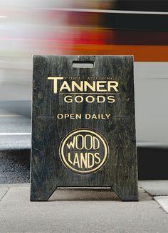 CNC Cut Wooden Pavement Sign Tanner Goods + Wood Lands