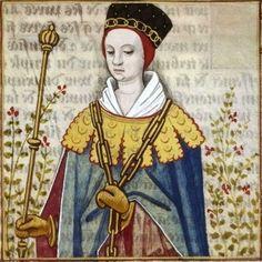 LXXV-Dripetrua, reine de Laodicé (DRIPETRUA, daughter of Laodice  and Mithridates VI of Pontus) -- Giovanni Boccaccio (1313-1375), Le Livre des cleres et nobles femmes, v. 1488-1496, Cognac (France), traducteur anonyme. -- Illustrations painted by Robinet Testard -- BnF Français 599 fol. 65