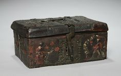 """Leather casket, from Cleveland museum. Dimensions are h:  4 1/8"""" (10.5cm), w: 9 7/8"""" (25.2cm) d:  7 7/16"""" (19cm)"""