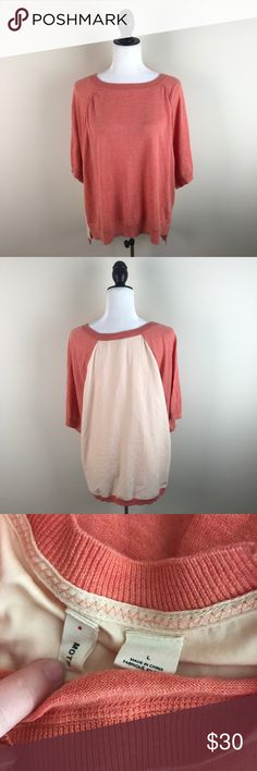 """Moth Anthropologie Orange Sweater Oversized lightweight sweater from Moth by Anthropologie. It is a little longer in the back and the back is a contrasting color and material. The front is 55% cotton, 20% modal, 20% trifecta, and 5% silk. The back is 100% polyester. Gently worn with no flaws.  Measurements laying flat— Armpit to armpit: 23.5"""" Length, shoulder to hem: —Front: 24"""" —Back: 27.5"""" Anthropologie Sweaters"""