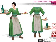 3f58386ac Second Life Marketplace - WEEKENDSALE SAVE! 7in1 FULL PERM Medieval Green  Tavern Waitress Outfit