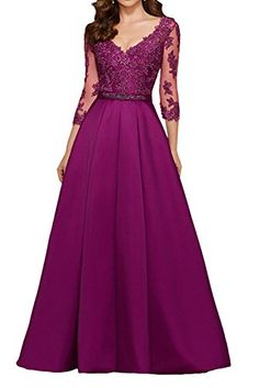 Toponline Women's V-Neck Lace Appliqu¨¦ Satin Long Evening Dress Low-Cut Sexy Evening Dress - Fashion Sexy Evening Dress, Lace Evening Dresses, Elegant Dresses, Evening Gowns, Evening Party, Party Dresses With Sleeves, Prom Dress Shopping, Party Gowns, Dress Party