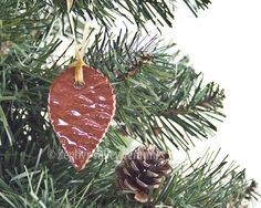 Ceramic Ornament Pinecone with Organdy by ZephyrValleyCeramics, $8.00