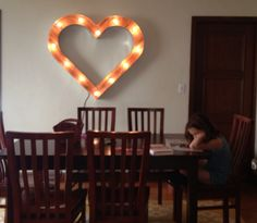 4'x4' Heart Marquee from Scott Coppersmith Designs.  Reclaimed wood.  Photo by an awesome client.