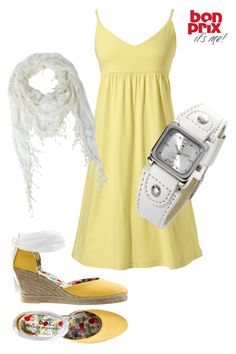 Loving summer dresses, cute little yellow sun dress, topped with a white scarf, and white leather bracelet and some yellow and white wedges!