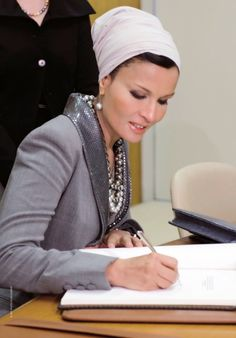 Sheikha Mozah was at the UN wearing Jean Paul Gaultiter couture...