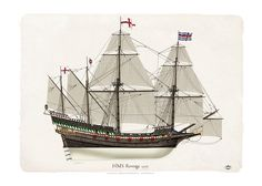 """""""HMS Revenge""""English race-built galleon of 46 guns, built in 1577 and captured by the Spanish in 1591, sinking soon afterwards in the Azores. She was the first of 13 English and Royal Navy ships to bear the name."""