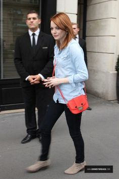 Emma Stone's Style. I have an outfit like this!!! maybe I will get someone like Spidey... :-p