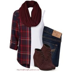 Deep Red plaid shirt, Ankle wedges & Infinity scarf