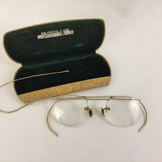 Gold Metal Rimless Eyeglass Frames Glasses Unknown Brand Unisex w/Case RX #Unbranded