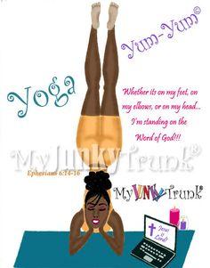 Yoga Yum Yum- African American Fitness Print