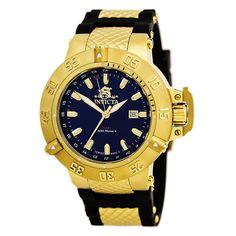Invicta 1150 Men's Subaqua Noma III GMT Blue Dial Gold Steel & Black Rubber Strap Dive Watch