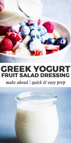 This Greek Yogurt Fruit Salad Dressing is going to be your new favorite thing to smother your fruit in. Made with all natural ingredients, this refined sugar free healthy yogurt dressing will turn you Greek Yogurt Salad Dressing, Yogurt Salad Dressings, Fruit Salad With Yogurt, Creamy Fruit Salads, Dressing For Fruit Salad, Fruit Salad Recipes, Yogurt Recipes, Greek Vinaigrette, Greek Salad