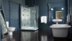 Creating a masculine bathroom can be done with a little creativity. Masculine bathroom can be beautiful, awesome and functional if they are decorated properly. Hotel Bathroom Design, Bathroom Interior, Bathroom Designs, Bathroom Ideas, Bathroom Remodeling, Bathroom Pictures, Bathroom Layout, Bathroom Colors, Wooden Bathroom