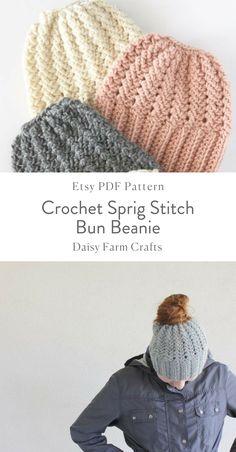 Etsy PDF Pattern - Crochet Sprig Stitch Bun Beanie