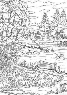 Lake View – Printable Adult Coloring Page from Favoreads (Coloring book pages for adults and kids, Coloring sheets, Coloring designs) - Beauty is Art Coloring Pages Nature, Coloring Book Pages, Coloring Sheets For Kids, Kids Coloring, Printable Adult Coloring Pages, Nature Illustration, Nature Scenes, Lake View, Prints