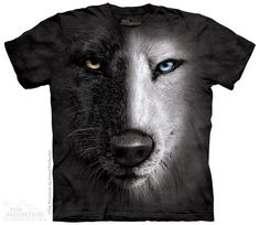 This awesome tee features the face of a wise wolf... or is it two wolves? Half of the canine's face has black fur, and a golden eye. The other half is white, with an icy blue eye. This unique shirt is sure to make a statement!