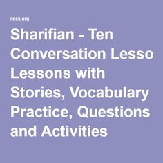 Sharifian - Ten Conversation Lessons with Stories, Vocabulary Practice, Questions and Activities (TESL/TEFL)