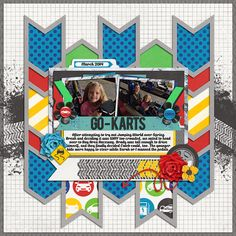 Go-Kart Scrapbook page Scrapbook Borders, Baby Scrapbook, Travel Scrapbook, Scrapbook Cards, Digital Scrapbooking Layouts, Scrapbook Sketches, Scrapbook Page Layouts, Picture Layouts, Multi Photo