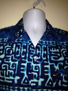 Vintage 70's Made in Hawaii Men's Barkcloth Camp Aloha Shirt Size Medium EUC