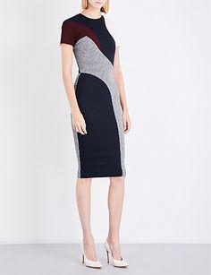 VICTORIA BECKHAM T-shirt Pannelled wool-blend midi dress