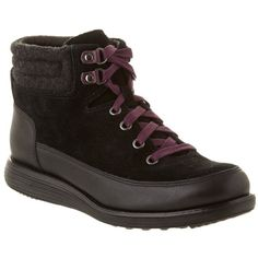 Cole Haan Hiker Grand Suede Bootie ($84) ❤ liked on Polyvore featuring shoes, boots, ankle booties, black, suede booties, black suede boots, black booties, ankle boots and black suede booties
