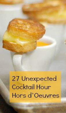 To go along with your cocktail party, here are 27 creative Hor d'Oeuvre ideas! #yummy