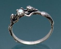 Mermaid Ring With Pearl by SheppardHillDesigns on Etsy - http://www.etsy.com/listing/86407219/mermaid-ring-with-pearl?ref==