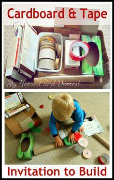 Invitation to build with cardboard and tape. Encourage creativity and independent thinking through open-ended play.