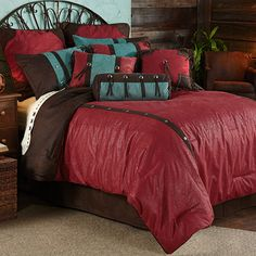 Cheyenne Tooled Faux Leather Southwestern Bedding Comforter Set & Accessories by HiEnd Accents #DelectablyYours Western Bedroom Decor 3 Pillows included!
