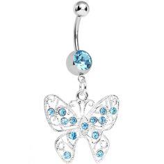 Aqua Gem Fancy Filigree Butterfly Belly Ring
