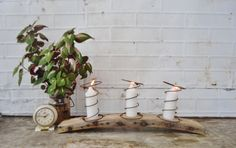 Knick of Time: Quirky Candle Holder (chair parts + bed springs)