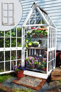 Old windows turned into a garden greenhouse | Photo Inset: Carl Saathoff/Alamy | thisoldhouse.com
