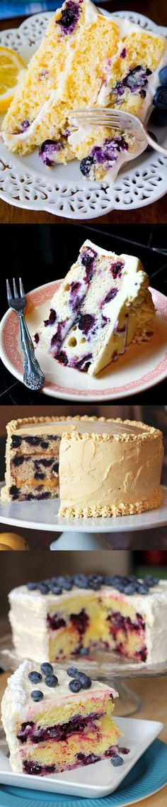Refreshing Lemon Blueberry Layer Cake with Lemon Buttercream Frosting ~ Two layers of delicious blueberry cake, blueberry filling, and lemon buttercream frosting